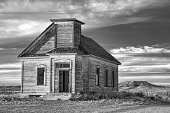 First Presbyterian Church of Taiban (BW) (jamesclinich) Tags: newmexico detail monochrome clouds buildings landscapes blackwhite churches clarity olympus antiques nm omd topaz adjust em10 denoise bweffects taiban