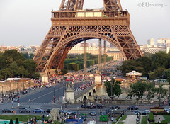 View down to the Pont d'Iena and Eiffel Tower