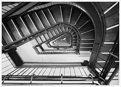 Round and Round and Down it Goes  (60/365) (Free 2 Be) Tags: heritage monochrome vancouver stairs vertigo down monochromatic historic staircase photoaday 365 day60 115 dominionbuilding project365 365days dailypost 365daychallenge postaday day60365 365the2015edition 3652015 115photosin2015 1mar15