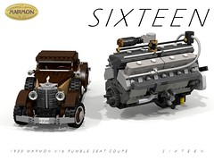 Marmon S I X T E E N - Rumble-Seat Coupe - 1933 + 491 CID V16 (lego911) Tags: auto usa records classic car america 1931 vintage rumble model break lego lets render seat engine some oldtimer motor powerplant 88 coupe challenge sixteen cad lugnuts 1933 povray moc ucs v16 ldd miniland marom lego911 letsbreaksomerecords