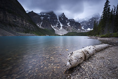 Rainy afternoon at moraine lake (andrewpmorse) Tags: morainelake mountains banffnationalpark banff lake log trees clouds rain canada alberta rockymountains canon 6d 1634f4l leefilters bigstopper lee06ndgradhard longexposure