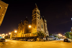 Chicago Plate 162 (Cycle the Ghost Round) Tags: stboniface saint church catholic old demolition closed abandoned westtown westside noblesquare chicago city urban night classic yellow brick sodiumvapor gold glow orange street lights threatened