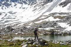 We weren't the only ones. (balu51) Tags: wanderung landschaft berge see bergsee wanderer ufer felsen grau weiss schnee hiking landscape mountain mountainlake alpinelake lake water grey snow white hiker unknown noon sunny warm summer graubnden juni 2016 copyrightbybalu51