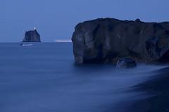 Blue hour in Stromboli (nuriapase) Tags: longexposure blue light sea mer lighthouse luz nature azul faro island boat mar barca ship natura nocturna bluehour blau far nocturne stromboli llum vaixell mediterrani itàlia strombolicchio sicília illeseolies llargaexposició eolies horablava