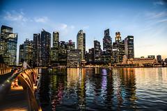 Skyline (photo.leo) Tags: nice lights nikon d750 singapore marinabaysands skyline evening sunset city skyscrapers