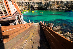 Popeye village (petia.balabanova(tnx for +1.000.000 views)) Tags: travel blue light shadow sea summer house playing water colors island rocks village down malta popeye nikond800 flickrtravelawards