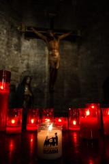 Basilica de Santa Maria del Mar, Barcelona (jeetdhillon) Tags: christ christian jesus passion cross votive candle religious crucifixion crucify church basilica barcelona