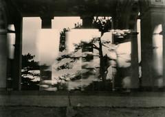 Drunken Hussars (raf6x6) Tags: blackwhite lithprint lith moersch se5 agfaclack agfa clack pinhole double exposure doppel belichtung hiking trees buildings