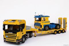 Classic Scania combo (Andrea Lattanzio) Tags: scania truck lego foitsop legotruck legotrucks v8 nooteboom vintage classictruck norton74 scania140