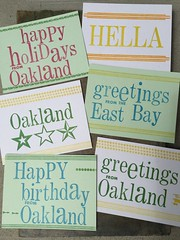 Oakland letterpress postcard series (artnoose) Tags: holly rule stripes lines stars series type wood hella orange blue yellow green red holidays birthday happy set berkeley bay east bayarea california postcards postcard letterpress oakland