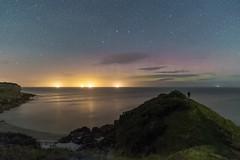 'Out Of The Haze' - White Beach, Anglesey (Kristofer Williams) Tags: whitebeach anglesey beach coast landscape nightscape night sky stars figure selfie headland aurora auroraborealis northernlights aurorauk llangoed walescoastpath