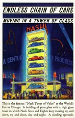 Nash Tower of Value Century of Progress Chicago IL (Edge and corner wear) Tags: vintage postcard pc chicago illinois worlds fair il century progress 1933 1934 nash car automobile display tower glass building animated exhibit bright lights tonight