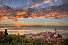 Piran Sunset (pics721) Tags: piran slovenia coastal medieval destination coast square town houses tile seaside travel view panoramic touristic marina summer port old pirano village mansion building adriaticsea tourist historic mediterraneansea church pine roof architecture city georgecathedral blue panorama panoramicview marine seascape sight boat tourism adriatic mediterranean sea water harbour coastline europe landscape facade sunset