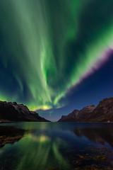 Nordlys over Ersfjorden med rosa rand (mirrormatch) Tags: arctic arcticlight hav ocean auroraborealis northernlights fjord troms mountains sky fjell nordlys kvalya ersfjorden sea kvalya troms