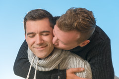 Hugs and kisses his boyfriend (dmytrotarasenko) Tags: gay couple boyfriend relationship kissing kiss hugging hug romantic love date dating two male romance young man natural authentic outdoor affectionate togetherness loving