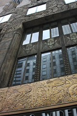 Patterns Reflected (lefeber) Tags: city nyc newyorkcity windows urban newyork reflection building architecture downtown verdigris carving relief artdeco brass chaninbuilding