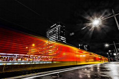color express (Blende57) Tags: blackandwhite bw color night train darkness nacht platform zug bahnhof motionblur trainstation sw lighttrails farbe bahnsteig dunkelheit bewegungsunschrfe lichtspur essenhbf essenhauptbahnhof