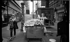 latest angles #1 (Mattron) Tags: nyc newyorkcity newyork slr film analog kodak manhattan streetphotography d76 midtown timessquare pentaxk1000 tmax400 nofilter bananacart