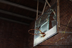 IMG_8871R (Steven Kuipers) Tags: school brick abandoned broken basketball backboard rust midwest decay urbandecay bricks indiana highschool forgotten rusted rim schoolhouse shattered gym gymnasium crumbling urbex urbanexplore