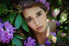 Persephone, in the Garden (LaRuephotography) Tags: flowers portrait woman flower green nature beauty fairytale greek eyes purple bright story crown persephone hades myth larue