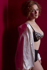 Mari (austinspace) Tags: portrait woman shirt tattoo studio washington chair spokane bra redhead redroom alienbees