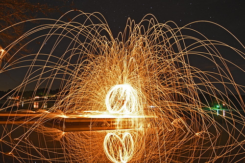Steel wool light painting with a cross swing