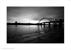 Runcorn-Widnes Bridge (Andrew James Howe) Tags: bridge blackandwhite architecture landscape mono bridges runcorn widnes halton runcornwidnesbridge andrewhowe