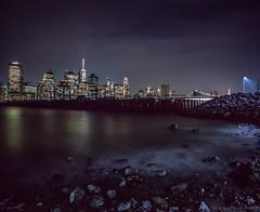 East River Shore and Night Skyline (Raphe Evanoff) Tags: nyc longexposure urban film brooklyn landscape manhattan ektachrome mamiya7