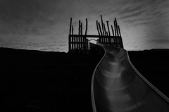 (Alan Drake) Tags: longexposure sunset sky blackandwhite bw canada abstract playground clouds dark nikon experimental dusk britishcolumbia slide richmond manual d7000