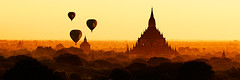 Balloons over Bagan (Sunrider007) Tags: sigma 120300 sony a7r sunrise layers bagan myanamar burma sulamani temple buddhist buddhism balloon balloons ballooning flight panorama pano landscape earthquake ruined destroyed ruins