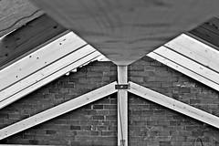 geometrie - geometry (immaginaitalia) Tags: bw italy white black brick muro wall torino wooden italia geometry bn piemonte di turin bianco piedmont nero beams legno valleys travi joints geometria valli mattoni lanzo unioni reticolare capriata lamellare germagnano