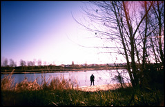the fisherman (Roberto Messina photography) Tags: italy color film nature analog xpro crossprocessed january pinhole analogue zeroimage asti zero69 2015 fujivelvia100f