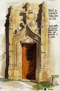 Luzech, portail de la chapelle Notre Dame de l' Isle