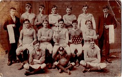 D.W.S.S. AFC. Football team with trophy and shield (EastMarple1) Tags: boy man cup sport socks shirt vintage ball football team lads boots group teenagers towel mascot suit cap trophy shield shorts kit afc dwss