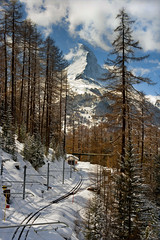 The Matterhorn as it seen from the train to The Famous Gornergrat.No. 4118. (Izakigur) Tags: trees winter nature train happy schweiz switzerland nikon europa europe flickr suisse suiza swiss feel free sbb trainstation sua gornergrat matterhorn nikkor svizzera wallis lepetitprince ffs thelittleprince zaz pharrellwilliams cff riffelalp ilpiccoloprincipe lasuisse 100faves 50faves 200faves gornergratbahn swissfranc  300faves d700 400faves 250faves nikond700 nikkor2470f28 izakigur nikkor2470mmf28g thevalais