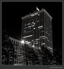 Acros100--034 (Schleiermacher) Tags: 120 film night buildings memphis tennessee bank highrise acros100 minoltaautocord