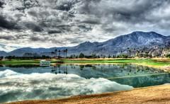 Golf Mornings (Spebak) Tags: california trees sky mountains reflection grass clouds golf panasonic socal golfcourse fairway southerncalifornia pga californiadesert waterhazard 2015 pgatour pgawest humanachallenge spebak