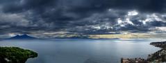 IMG_2357+58+59 Napoli and Vesuvio (pinktigger) Tags: sea sky italy panorama clouds landscape volcano italia mare napoli naples vesuvio