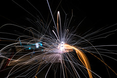 Nearly pink (wasp7ty) Tags: fire aluminum steel explosion burning trail flame capacitor sparks spark volt voltage impulse exploded