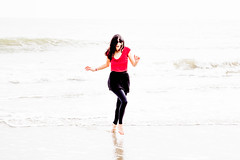 Girl on beach wavedancing in cold sea water (Adrian-Carey) Tags: red sea beach girl island top south charleston carolina leggings sullivans