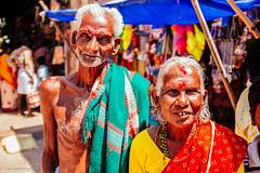 Old Couple (hadogumu) Tags: old india senior temple couple locals southern sri fujifilm hindu hinduism tamilnadu southindia trichy srirangam worshiper ranganathaswamy tiruchirappalli fujix x100t