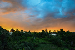 Sunset storm (MicheleSana) Tags: blue light sunset summer italy orange cloud verde green nature nikon italia tramonto nuvole estate cloudy blu july natura hills bergamo strom luce colline arancione temporale tempesta luglio
