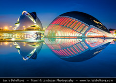 Spain - Valencia - City of Arts and Sciences at Dusk - Twilight - Blue Hour - Night ( Lucie Debelkova / www.luciedebelkova.com) Tags: valencia spain spanish espaa kingdomofspain reinodeespaa southwesterneurope country europe europeanunion eu es wonderful fantastic awesome stunning beautiful breathtaking incredible lovely nice best perfect world exploration trip vacation holiday place destination location journey tour touring tourism tourist travel traveling visit visiting sight sightseeing wwwluciedebelkovacom luciedebelkova luciedebelkovaphotography photography photo landmark dusk bluehour twilight night