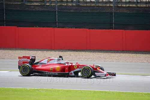 Kimi Raikkonen in his Ferrari during Formula One In Season Testing at Silverstone, July 2016