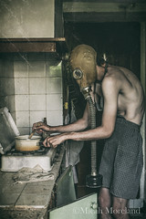 Nightmare (micahmoreland) Tags: creepy horror surreal surrealism surrealist conceptual costume wheezer world war 2 ii dystopian scary haunting wet plate grunge texture male toxic death danger gas mask thin skinny abandoned house urbex urban exploration kitchen disturbing comical
