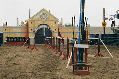 Jousting Arena: The Calm Before the Storm - Shot on Film (Robb Wilson) Tags: renaissance irwindale renaissancefaire 2016renaissancepleasurefaire joustingarena knights armor lances