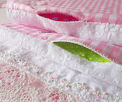 pockets and seams (contemporary embroidery) Tags: pockets gingham seams cloth quilt embroidery frenchknots