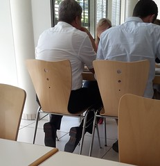 Hidden Camera - black dress shoes 03 (TBTAOTW2011) Tags: hidden camera candid work photo lunch break office old older mature man businessman business glasses black leather dress shoe shoes sole soles feet foot socks pants sitting grey white hair
