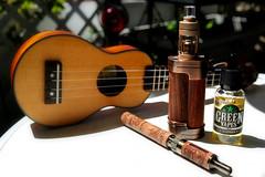 Sunny morning on my balcony. Vaping. (FHgitarre) Tags: summer robot ukulele balcony 12 iuke vape ecigarette vaping