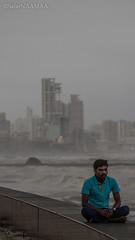 The Rich with the Common in One Frame!! (SafarNAAMAA) Tags: india mumbai monsoon sea arabiansea worli seaface seafront bayfront antilla mukesh ambani mukeshambani monsoonphotography streetphotography outdoor skyline mumbaiskyline